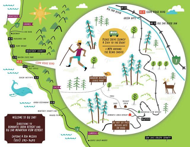 Big Sur illustrated map by Nate Padavick (www.idrawmaps.com) | Maps ...