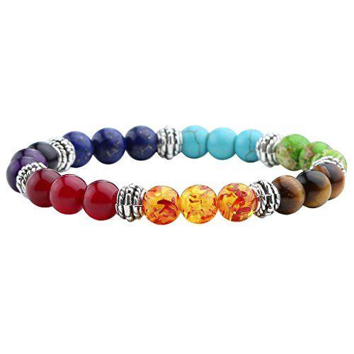 Jovivi 7 Chakra Tiger Eye Stone Yoga Balancing Reiki Healing Elephant Lucky Charm Bracelet,Mothers Day Gifts