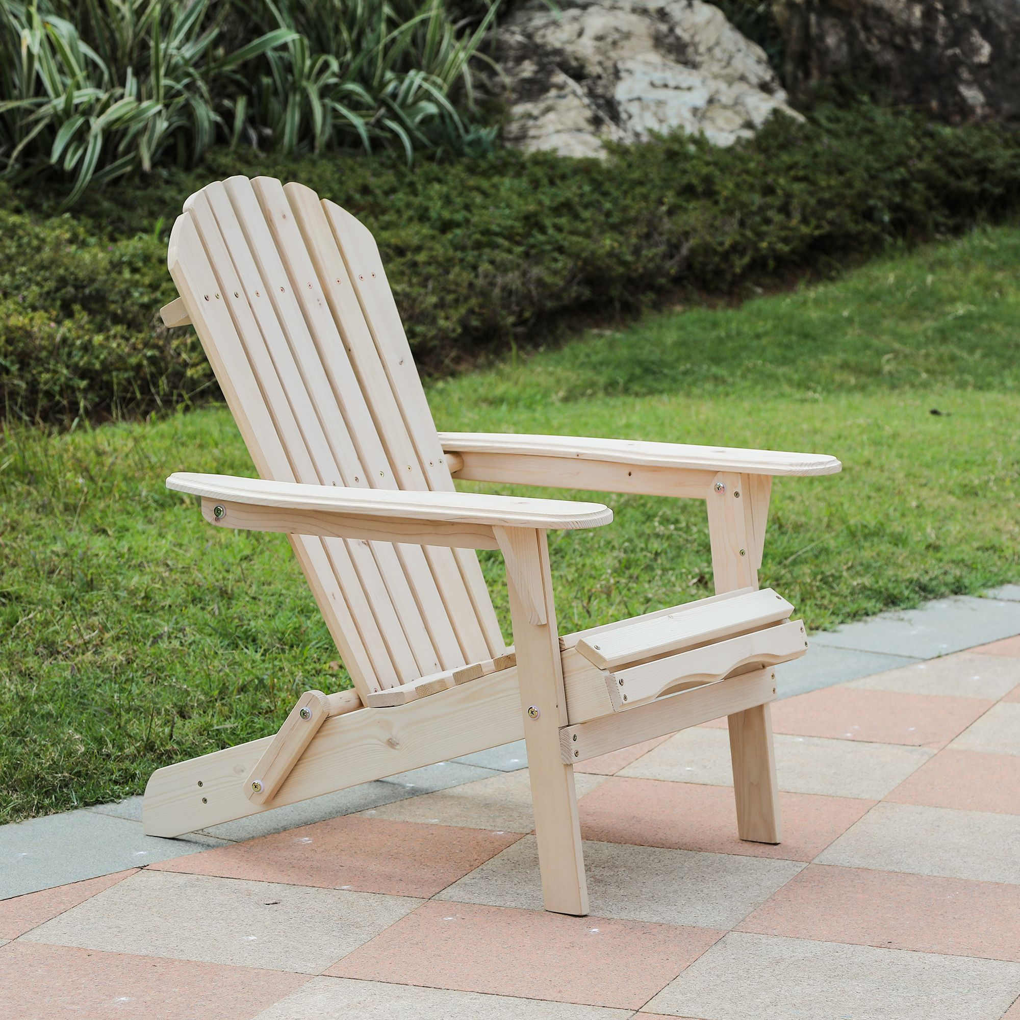 Natural Wood Adirondack Chair Wood