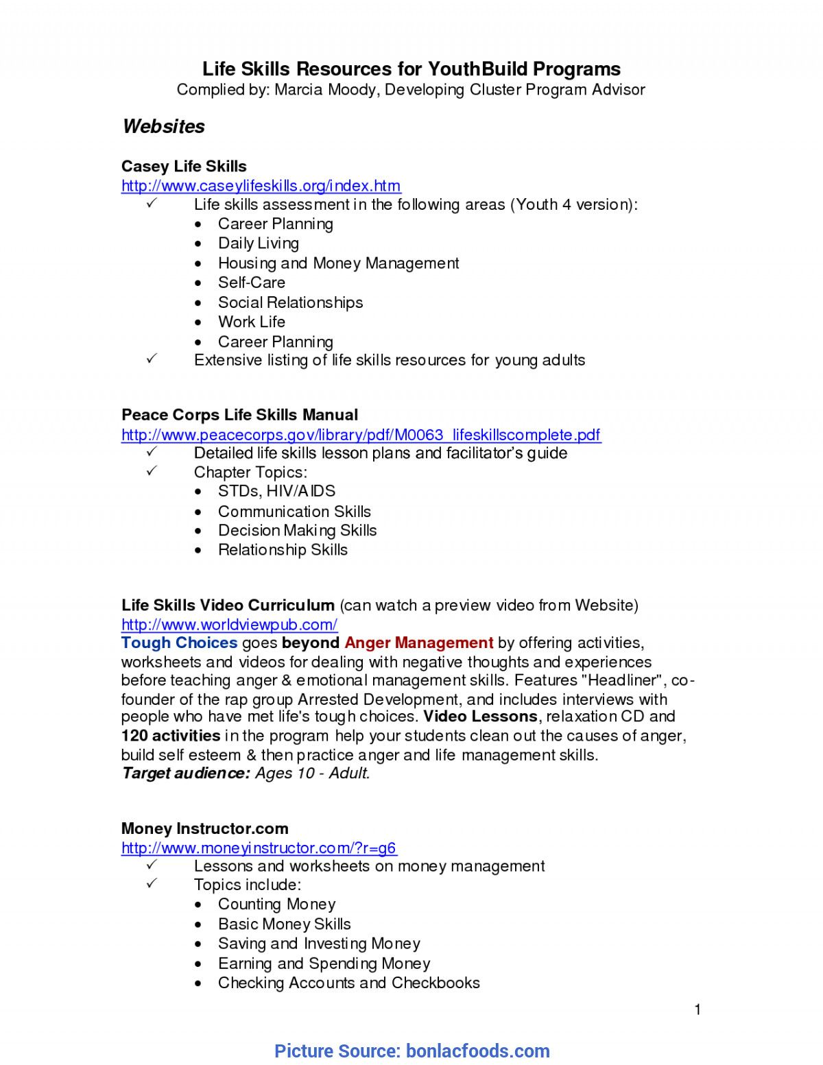 Daily Living Skills Worksheets In