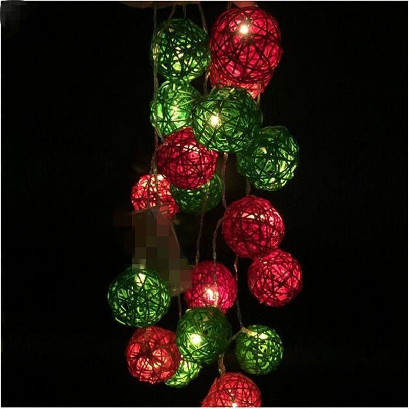 LED String Holiday Lights 20 Red Green Rattan Ball Lights AC Plug LED Christmas  Tree Lights Garlands Wedding Decorations - LED String Holiday Lights 20 Red Green Rattan Ball Lights AC Plug