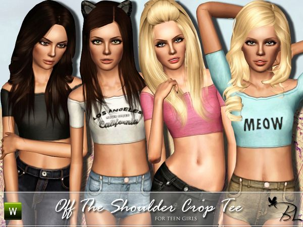 Off The Shoulder Crop Tee by Black Lily - Sims 3 Downloads CC Caboodle Check more at http://customcontentcaboodle.com/off-the-shoulder-crop-tee-by-black-lily/
