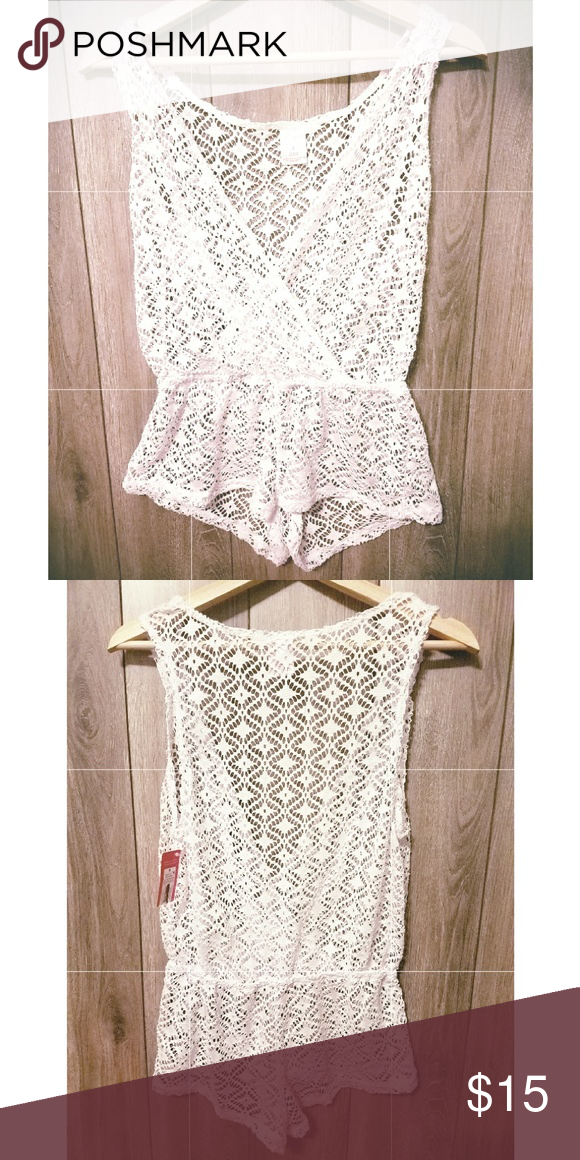 39f9db3d568a9 White Romper style Cover Up White lace style romper bathing suit cover up  Xhilaration Swim Coverups