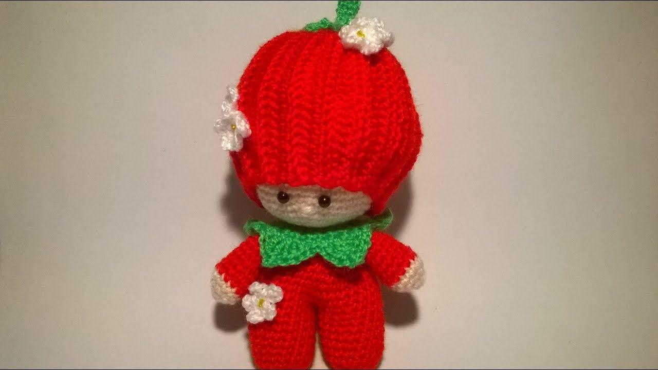 Tutorial Angioletto Amigurumi : Bambola fragolina amigurumi tutorial muñeca fresa crochet doll
