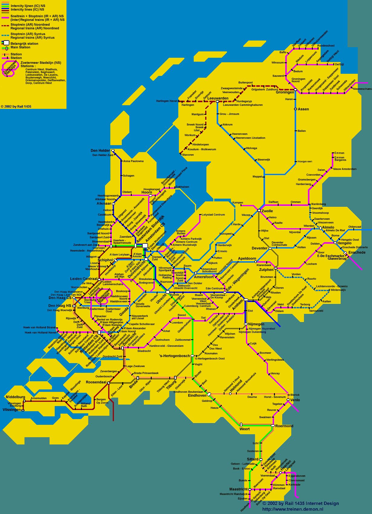 Railway map of Holland Travel Holland and the Netherlands too