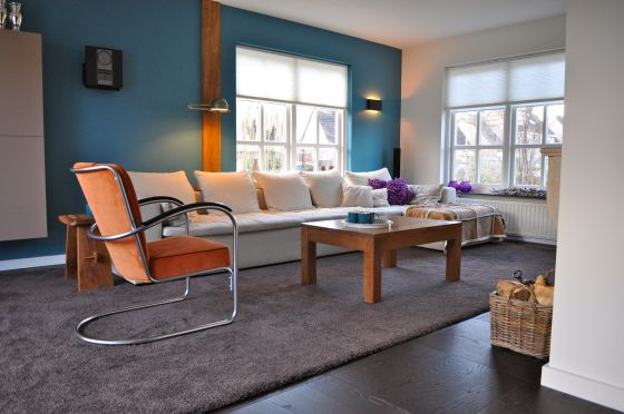 woonkamer met blauwe muur, gispen stoel en witte bank | Woonideetjes ...