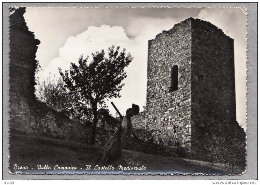 Brescia - 32599 Italia - Breno - Valle Camonica - Il Castello Medievale, VG 1952