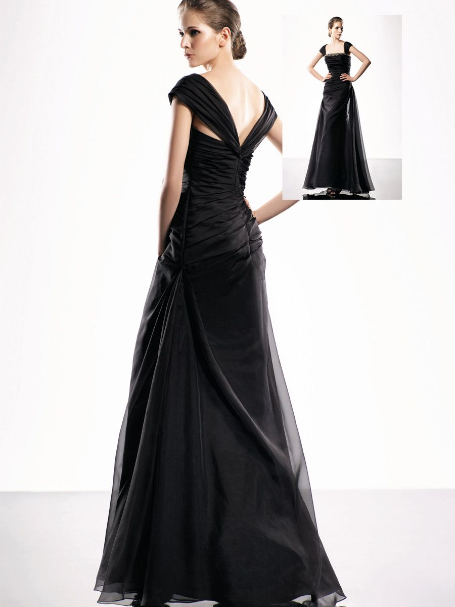 Black Organza Cap Sleeves Floor Length Evening Dress | Twirl ...
