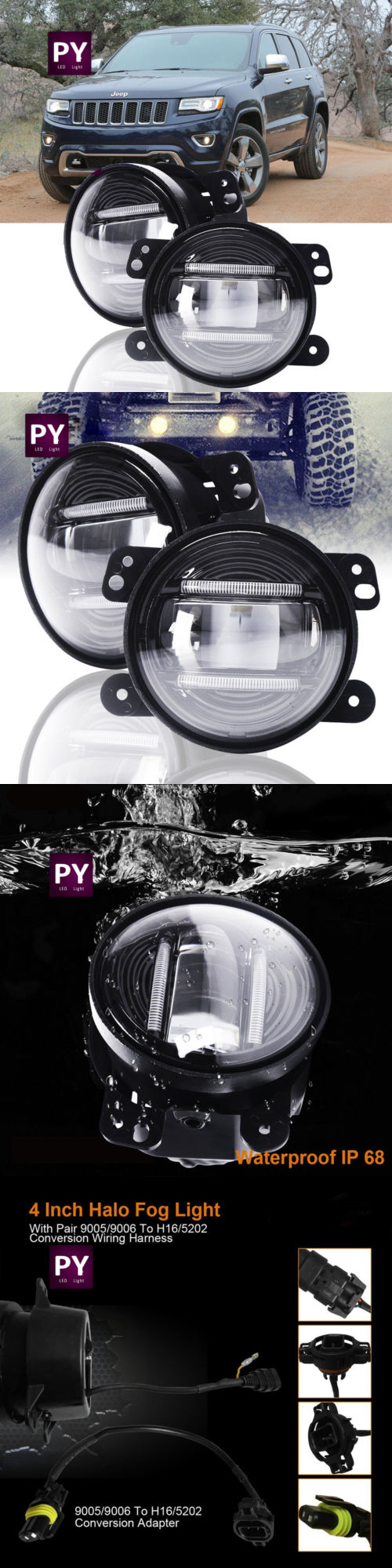Car Lighting Led Fog Lamps Driving Lights 2011 2012 2013 Universal Light Wiring Harness Ebay 2014 Jeep Grand
