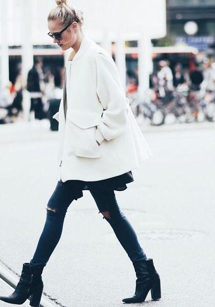 white coat + black booties