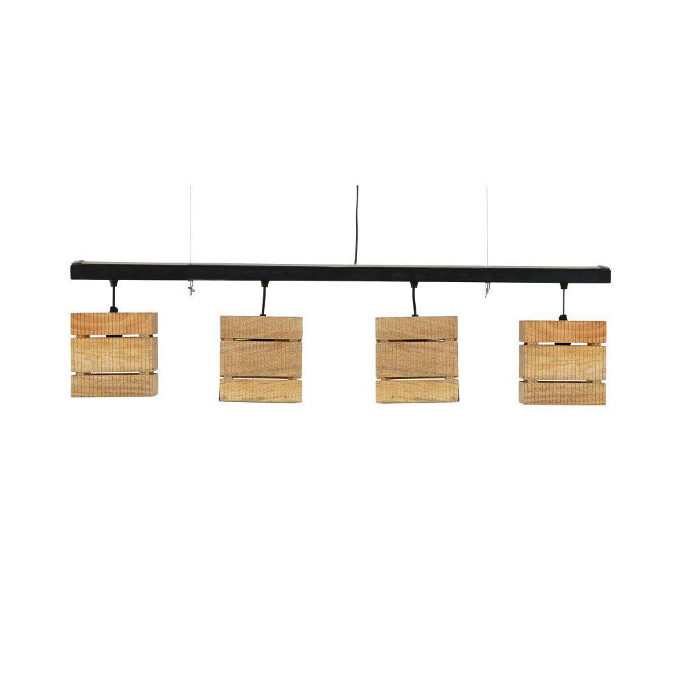 focos metal Lámpara industrial negro de de mango techo y 4 VzpGqMSU