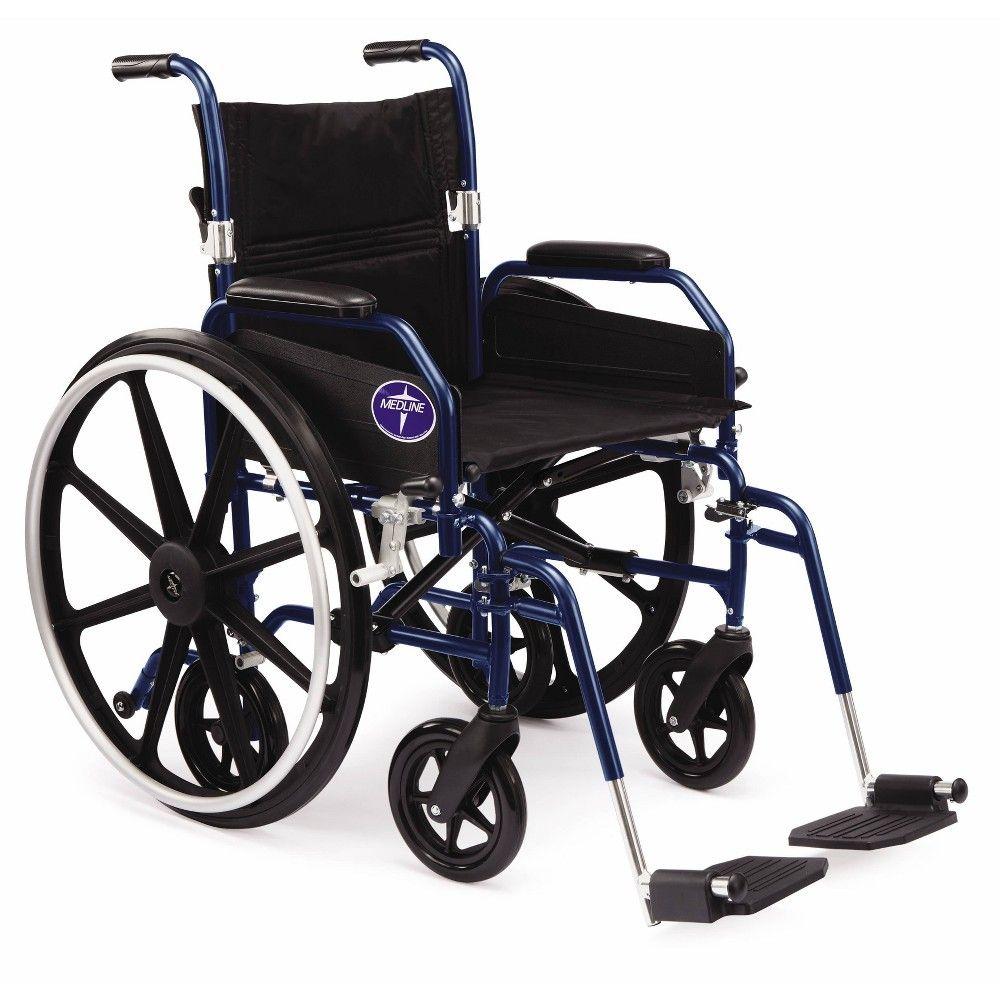 Medline Combination Wheelchair Transport Chair Blue in