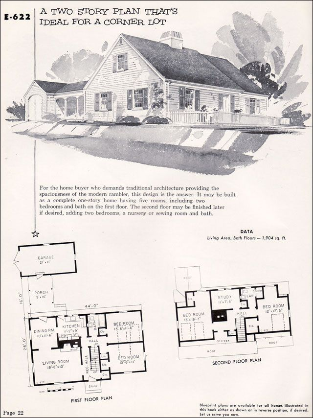E 622 1955 National Plan Service Homes Of Individuality Cape House Plans Victorian House Plans Traditional House Plans