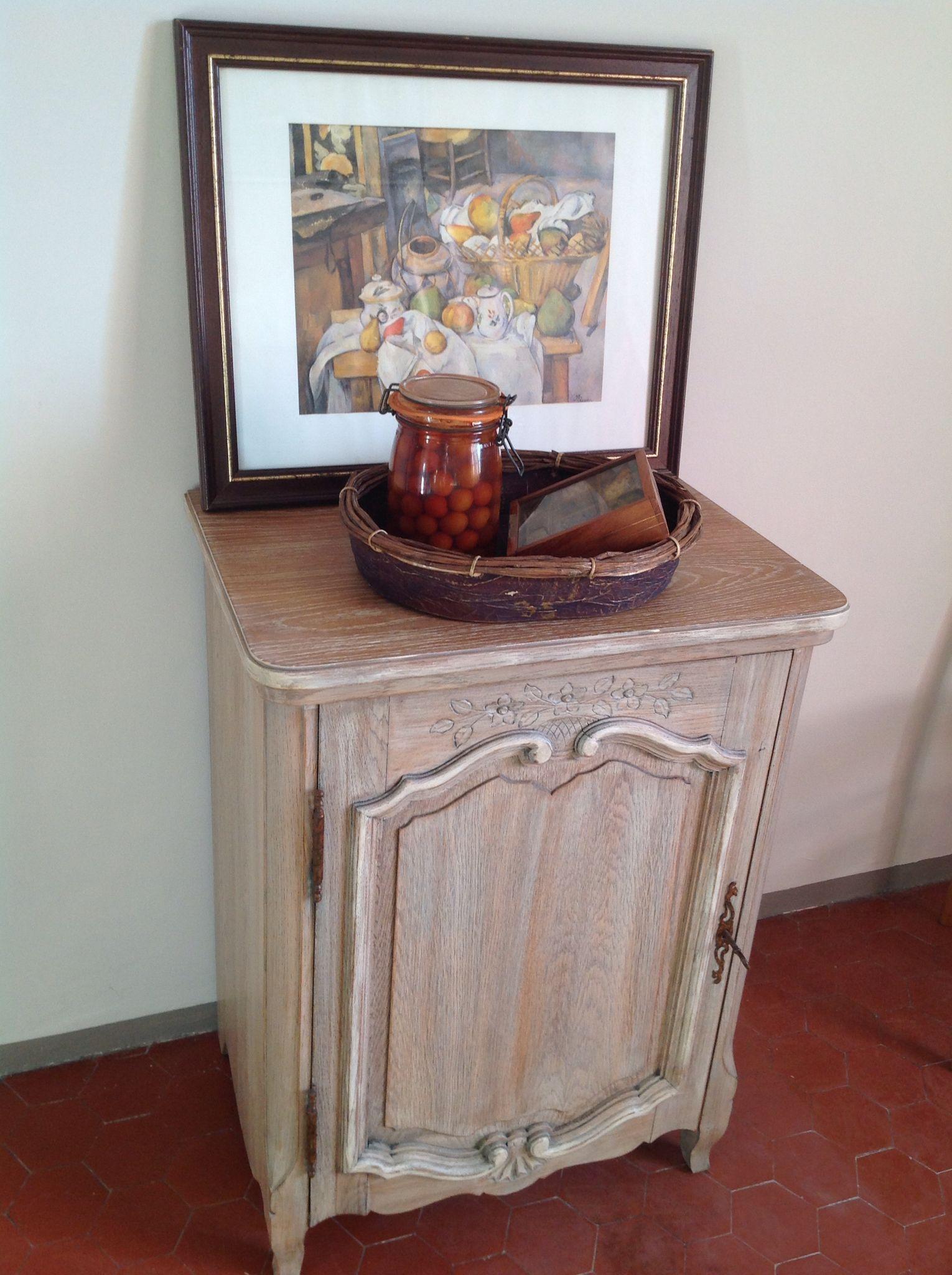 ancien meuble machine coudre devenu confiturier patine grise plateau cruse - Table Machine A Coudre