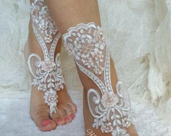 ivory silver frame barefoot sandals embroidered by ByVIVIENN