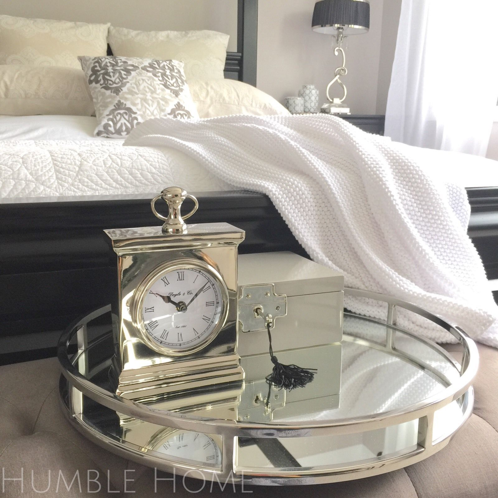 Absolutely Stunning Tray Round Mirror Tray with Polished Nickel