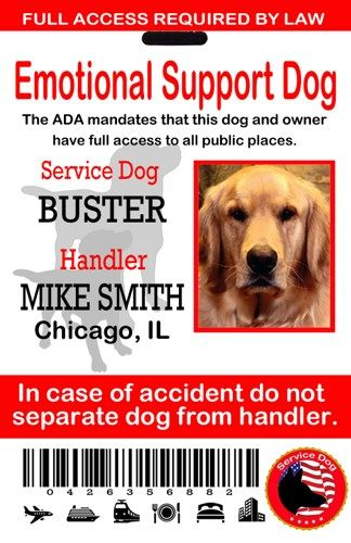 Emotional Support Service Dog Id Tag Service Dog Card Ada