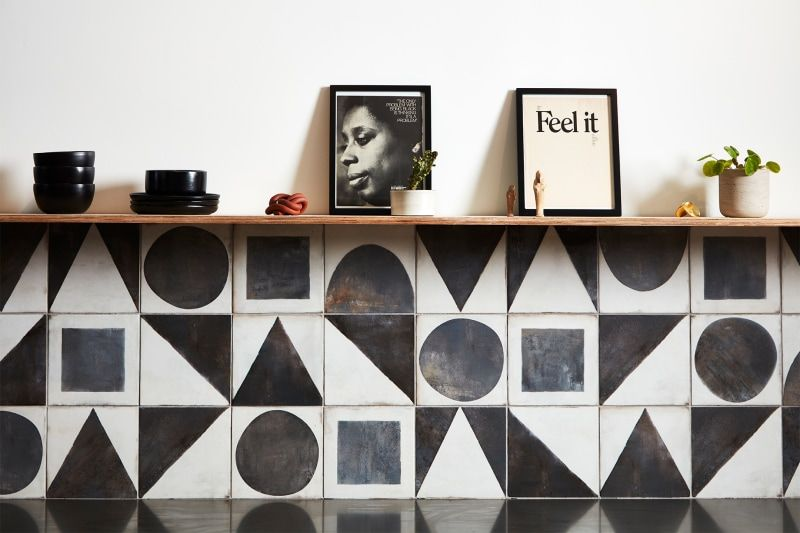 dream black and white geometric tile backsplash