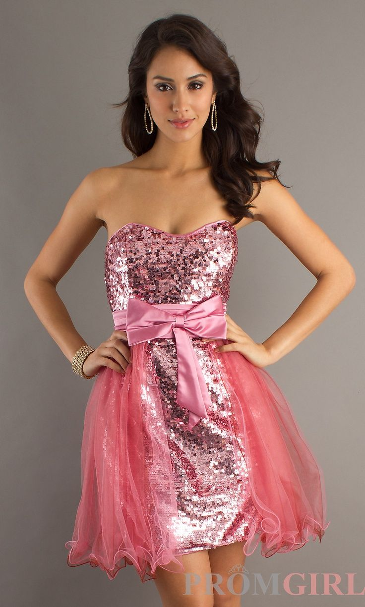 Short pink sequined dress homecoming big fashion show
