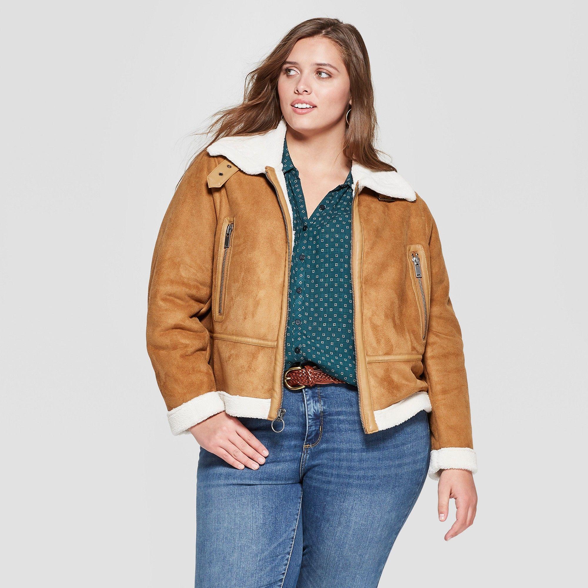 Women's Plus Size Sherpa Bonded Jacket Universal Thread