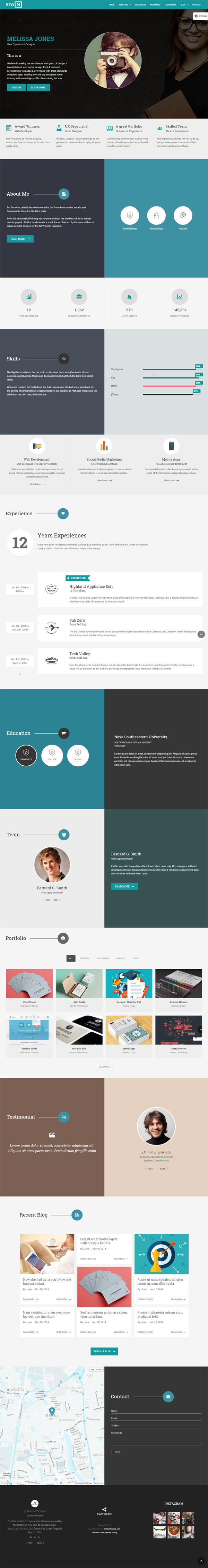 Stain Creative One Page Portfolio Blog Template Web Templates