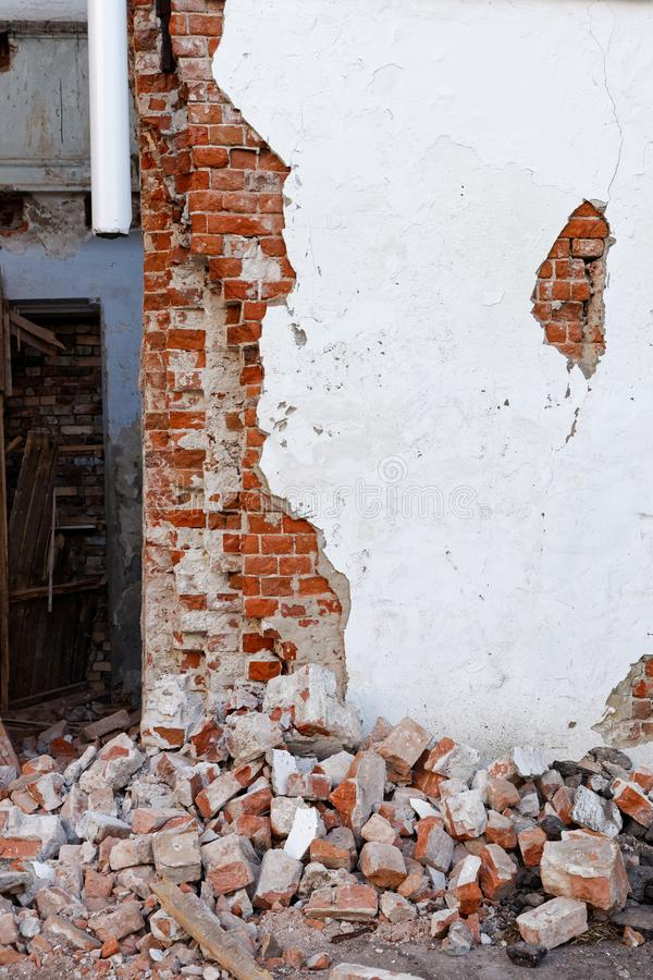 Destroyed Building With A Damaged Wall And A Pile Of Broken Building Building Art Wood Building
