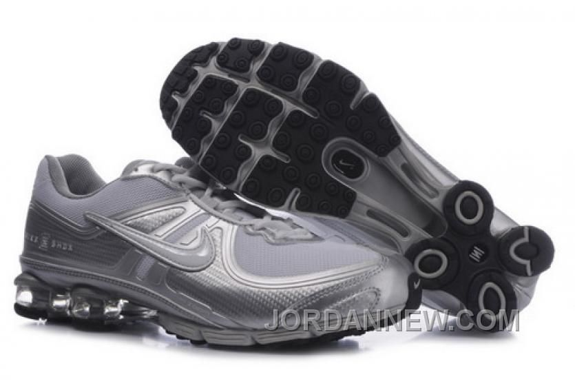 Discount Authentic Mens Nike Shox R4 Shoes Black/Metallic Silver/Brilliant Silver