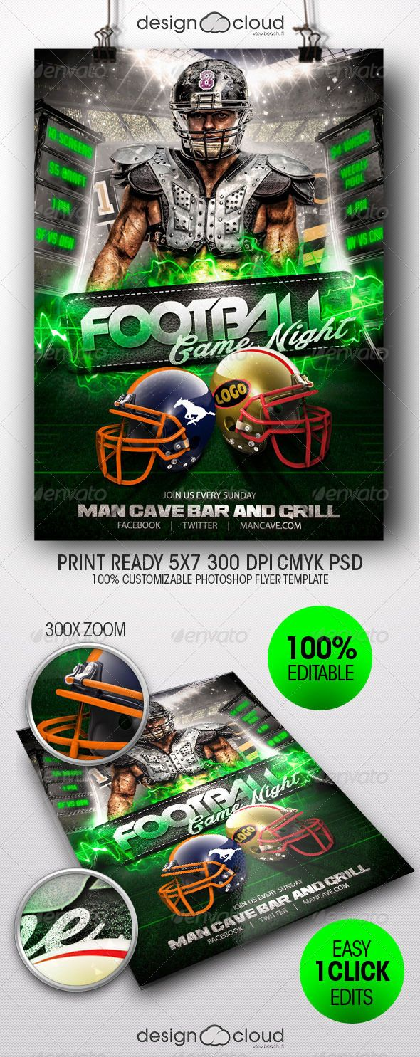 Football Game Night Flyer Template Flyer template, Flyer