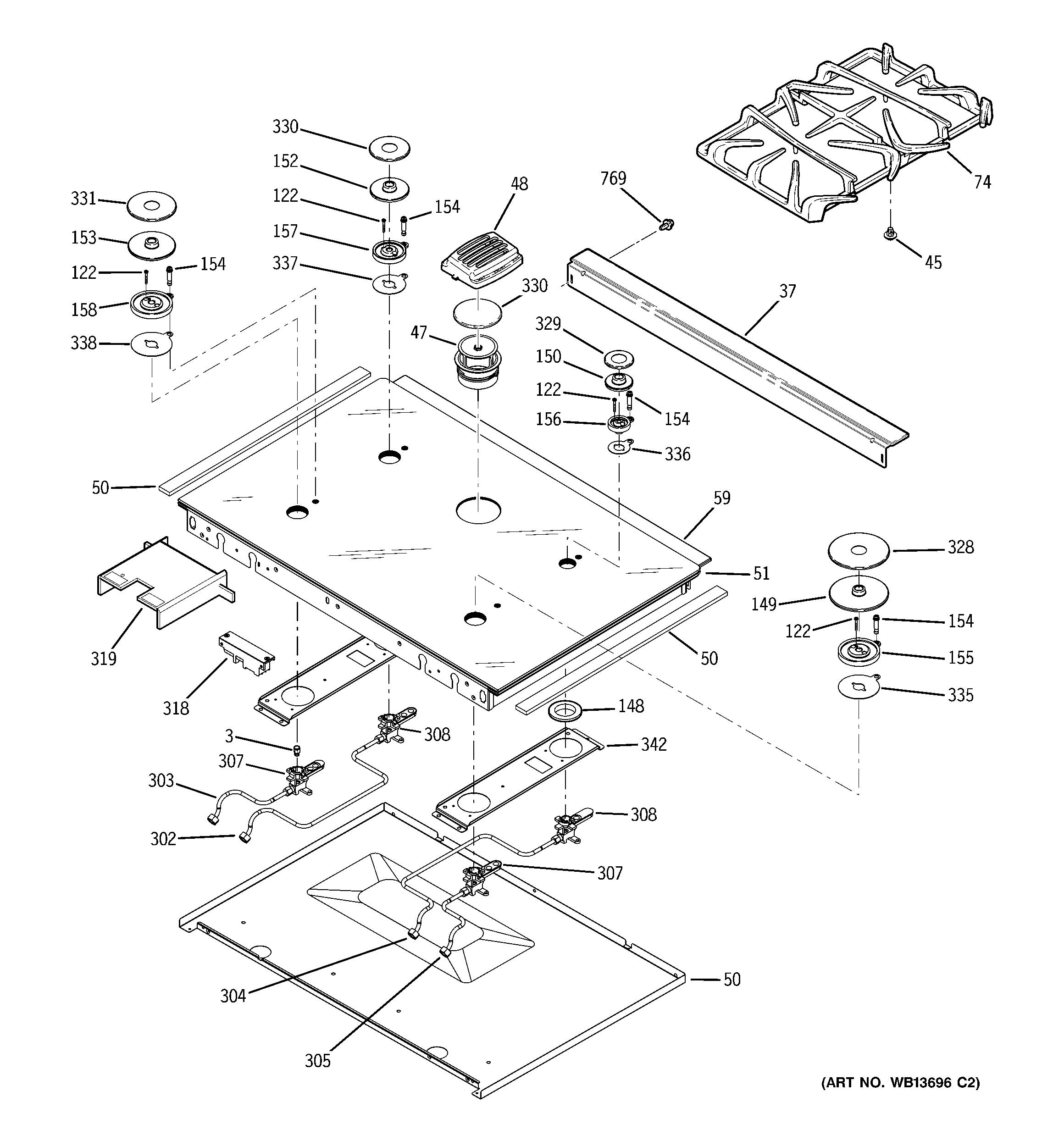 Ge Gas Range Cooktop Parts