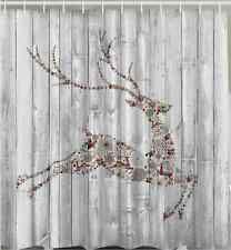 rustic christmas shower curtain winter holiday reindeer wood plank ornament bath