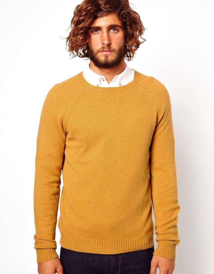 Asos Asos Wool Rich Sweater In Yellow For Men Mustard Lyst