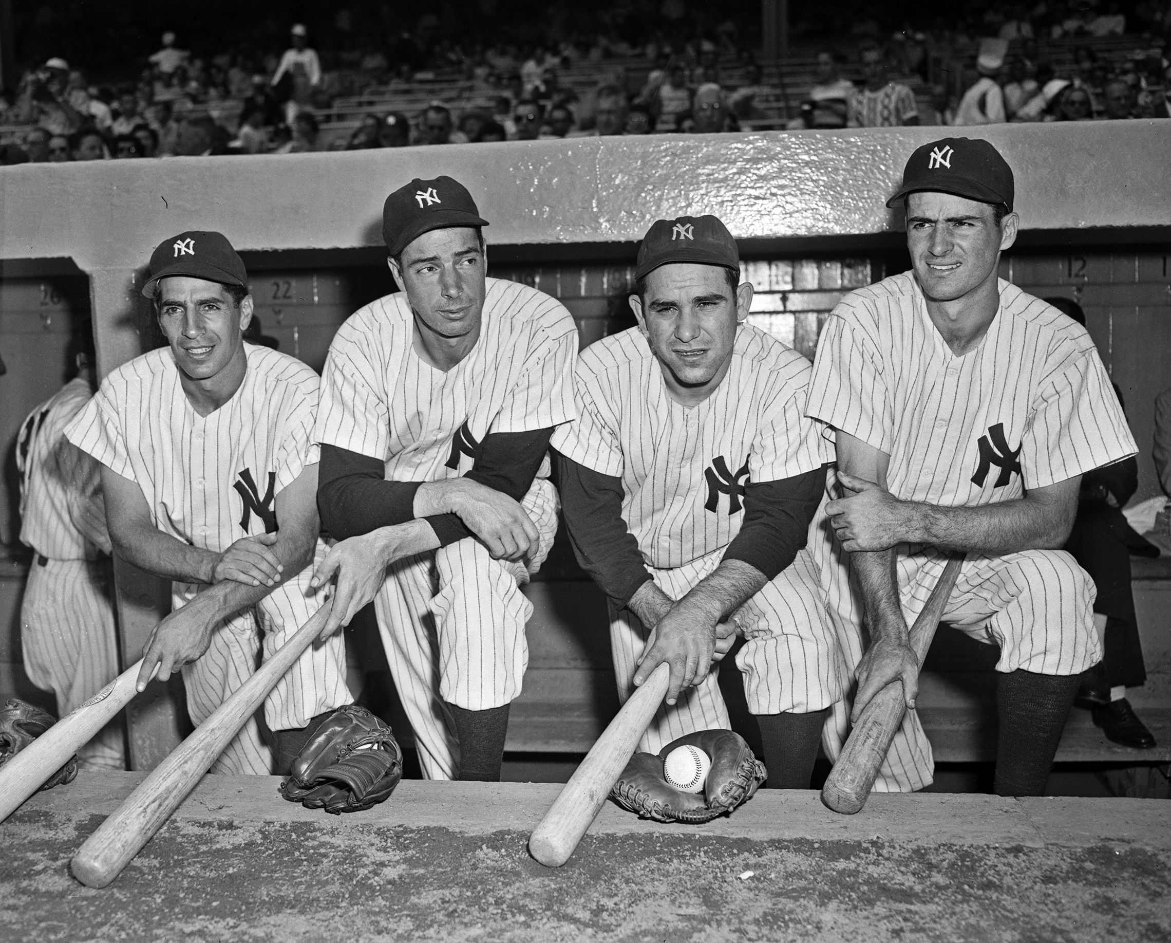 July 8 1950 The Four Yankees Picked For The American League Team In The 1950 All Star Game Phil Rizzuto Joe Dimag Yankees Baseball Yankees New York Yankees