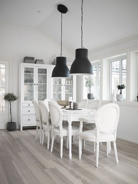 Ikea Hektar Large Pendant Lamps And Hemnes Glass Door Cabinets The Gorgeous Dining Room Englemor Blog White Interior Home Home Living Room