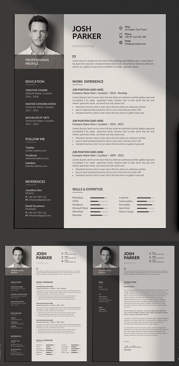 Resume Templates with Cover Letters - Clean resume template, Resume design template, Resume templates, Minimalist resume template, Cv resume template, Clean resume -  Resume Templates for lasting impression  In current employment market, only eyecatching clean and creative Resumes can stay