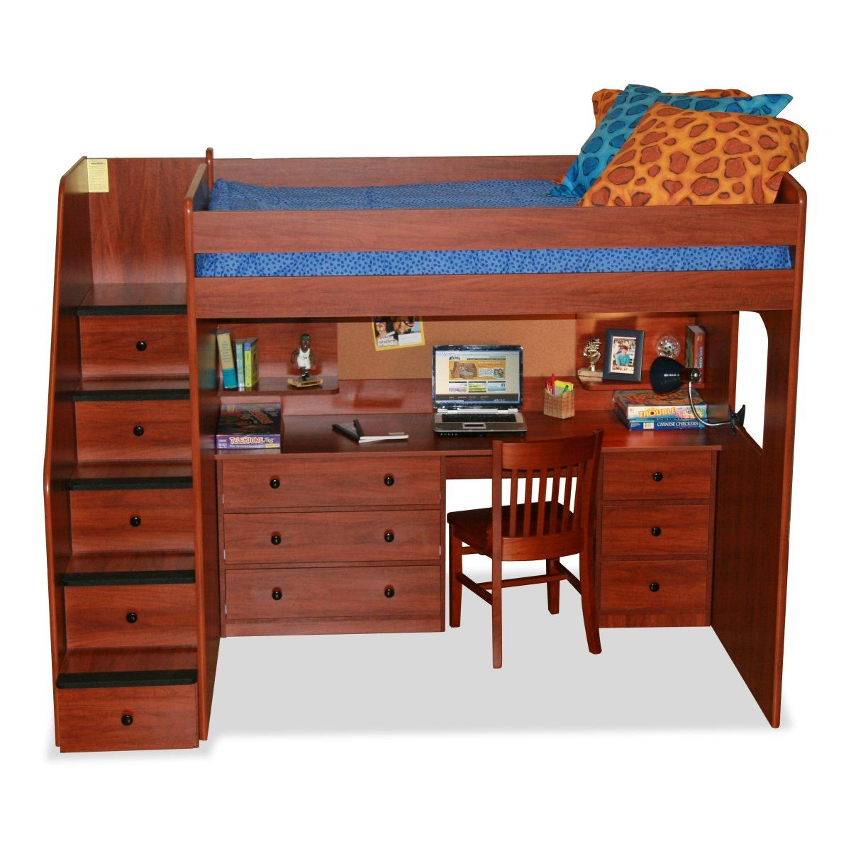 Loft bed with desk and trundle  Loft bed with stairs and full desk  Brooke Stuff  Pinterest