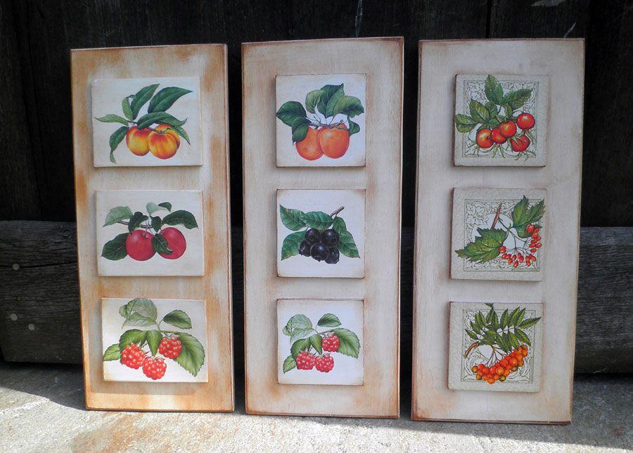 Retazos de madera cuadros de cocina setas y frutas for Setas para decorar