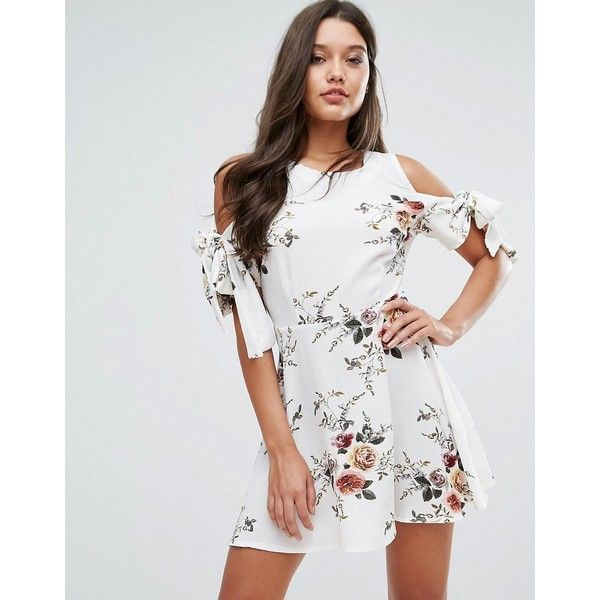 Floral Tie Sleeve Dress - Multi Missguided O7T4ZOm