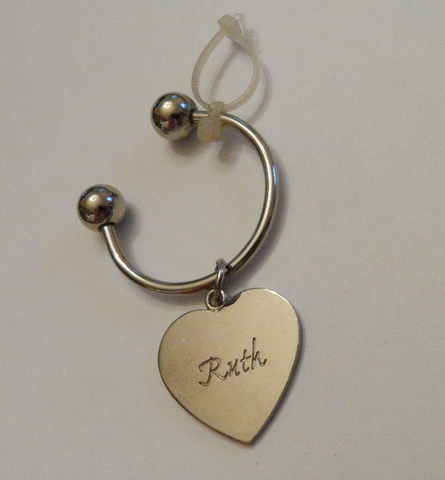 Personalized Engraved Traditional Silvertone Heart Charm Key Ring Name Ruth | eBay