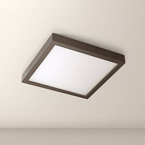 Disk 8 Wide Bronze Square Led Indoor Outdoor Ceiling Light 17x39 Lamps Plus