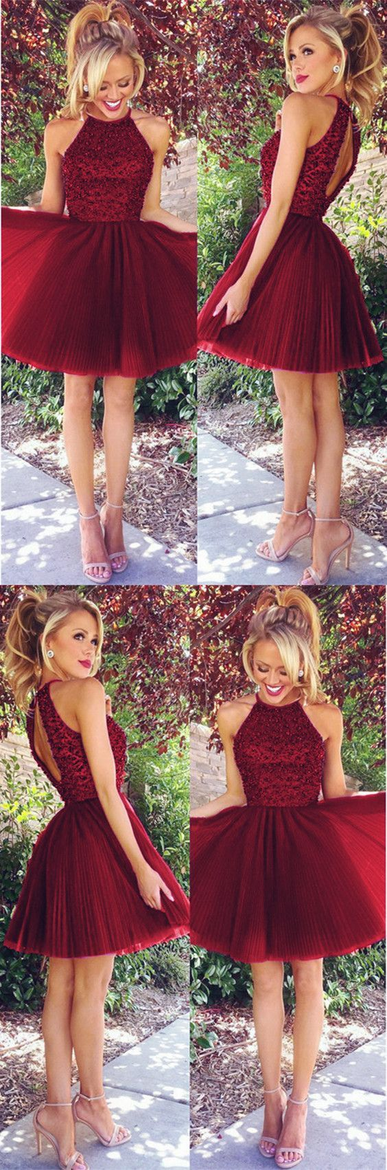 A line beaded halter pleated tulle homecoming dresses short prom