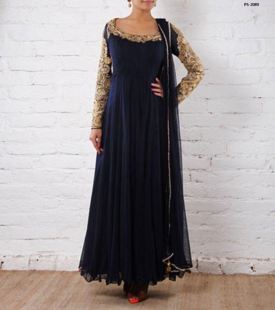 Round Neck Anarkali Suit Wedding Partywear Indian Maxi Dress Plus
