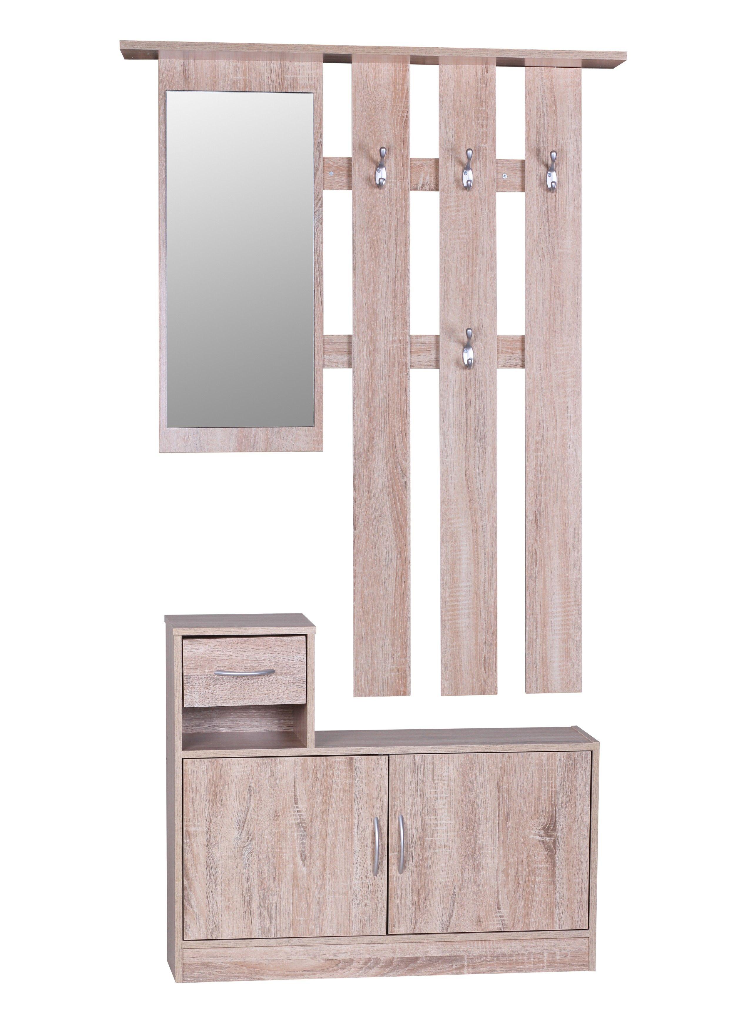 Garderobe Julia Sonoma 90 Cm Mit Spiegel Und Wandgarderobe Home