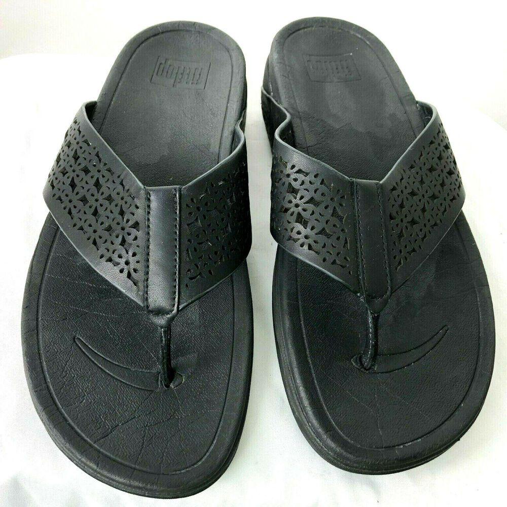 479ce6a00 FitFlop Women s Leather Lattice Surfa Black FLIP Flops Size 9  FitFlop   FlipFlops  CasualBeachpool