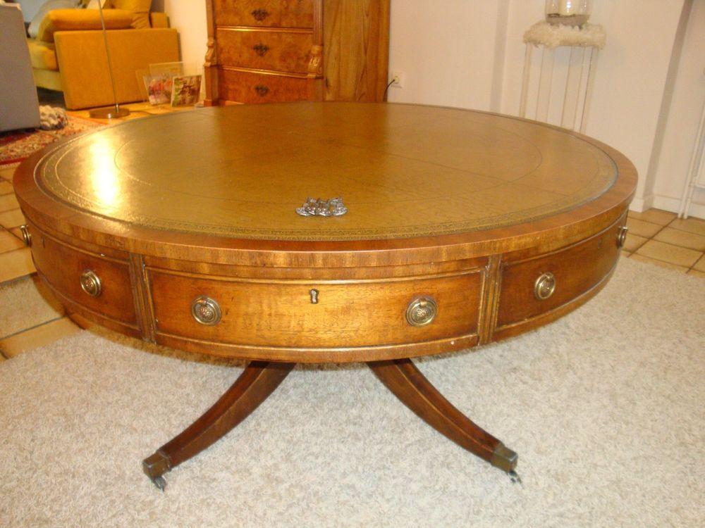 Englischer Trommeltisch Drum Table Mahagoni Ledereinlage England Um 1960 Trommeltisch Mahagoni Tisch