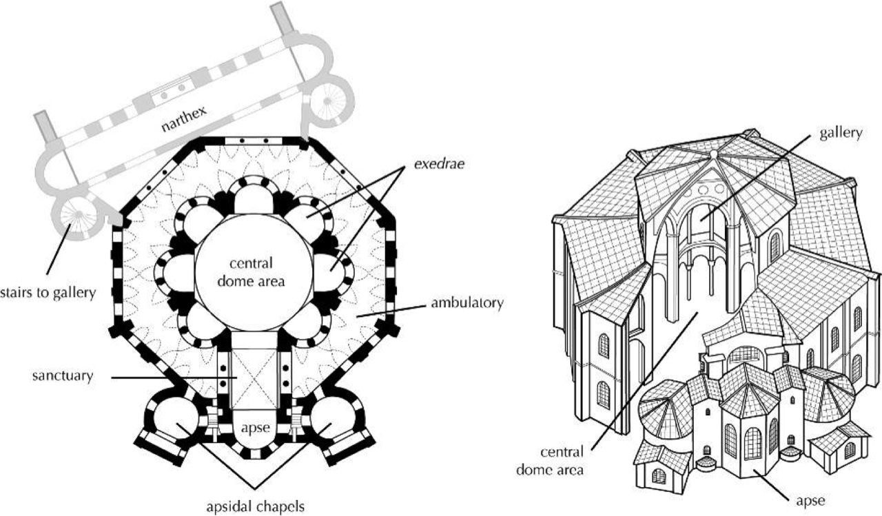San Vitale Ravenna Plan And Axonometry Architecture Drawing Basilica San
