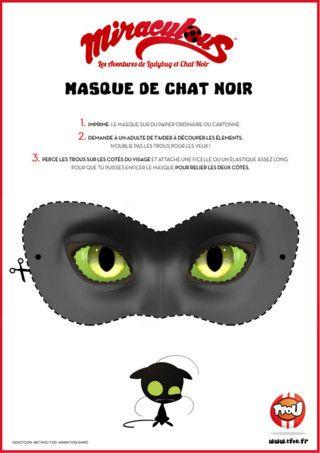 Imprime le super masque de Chat Noir, découpe le en ...