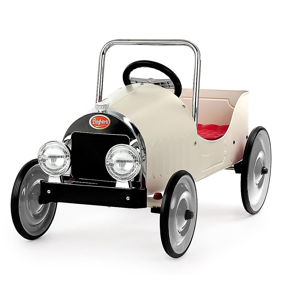Baghera Classic Metal Ride On Pedal Car In White Pedal Cars Classic Metal Car