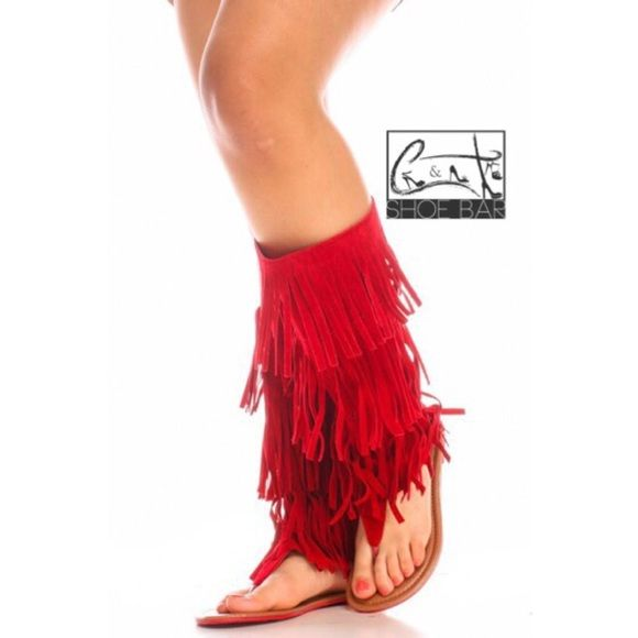 a0b7d8f8cfaf85 RED women moccasin sandal Anika-66 Faux Suede Fringe Thong Flat Sandal  Become a fashion goddess in this moccasin inspired flat sandals featuring  faux suede