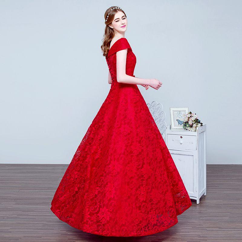 Us 86 0 الدانتيل طويل مساء اللباس العروس تزوج الأحمر 2017 Ssyfashion الخامس الرقبة غطاء الأكمام الفاخرة حفلة موسيقية ثوب رداء دي سواريه Dress Up Wedding Gowns Red Formal Dress Evening Dresses Fashion