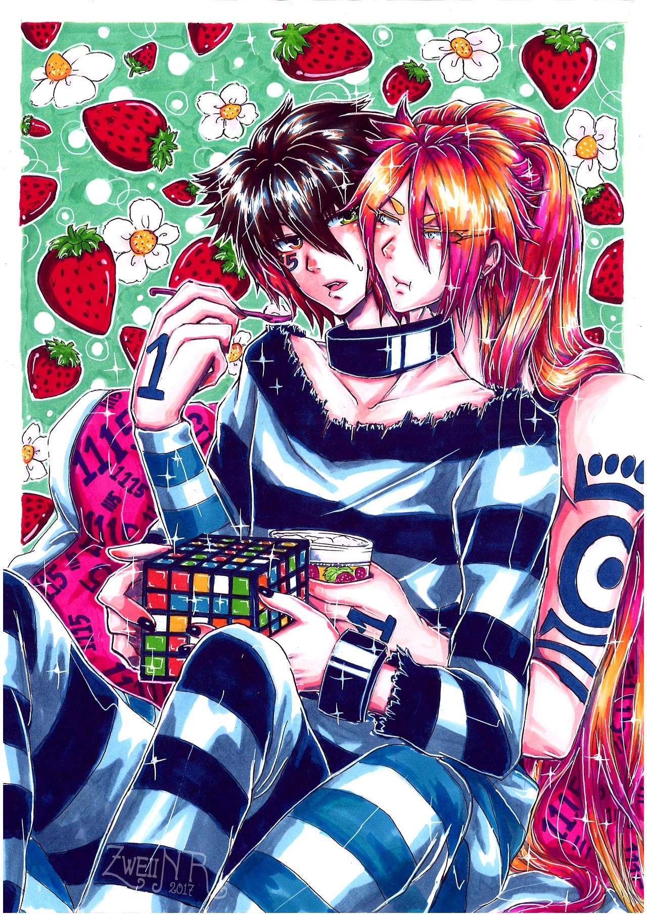 It Has Been A While Since I Draw Uno And Jyugo Zweii Awesome Anime Anime Anime Art